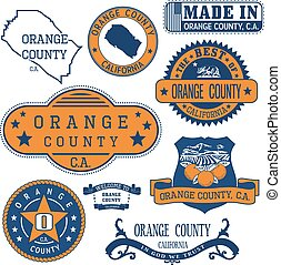Orange county, CA. Set of stamps and signs - Orange county,...