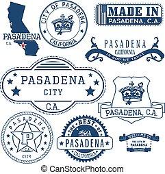 Pasadena city, CA. Stamps and signs - Pasadena city,...