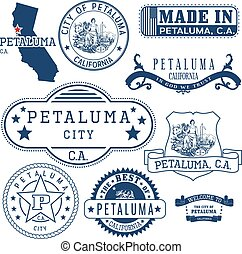 Petaluma city, CA. Stamps and signs - Petaluma city,...