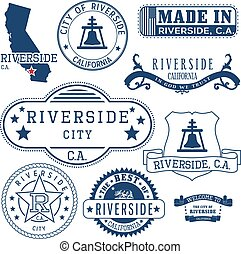 Riverside city, CA. Stamps and signs - Riverside city,...