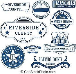 Riverside county, CA. Set of stamps and signs - Riverside...