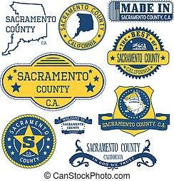 Sacramento county, CA. Set of stamps and signs - Sacramento...
