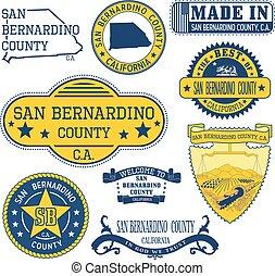San Bernardino county, CA Set of stamps and signs - San...