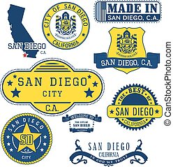 generic stamps and signs of San Diego city, CA - San Diego...