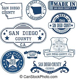 San Diego county, CA Set of stamps and signs - San Diego...