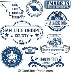 San Luis Obispo county, CA. Set of stamps and signs - San...