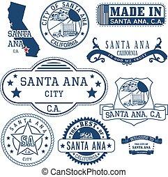 Santa Ana city, CA. Stamps and signs - Santa Ana city,...