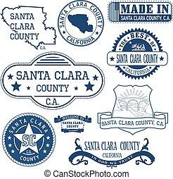 Santa Clara county, CA. Set of stamps and signs - Santa...