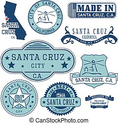 Santa Cruz city, CA. Stamps and signs - Santa Cruz city,...