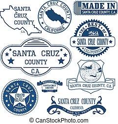 Santa Cruz county, CA. Set of stamps and signs - Santa Cruz...