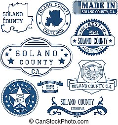 Solano county, CA. Set of stamps and signs - Solano county,...