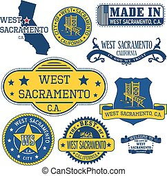 generic stamps and signs of West Sacramento city, CA - Set...