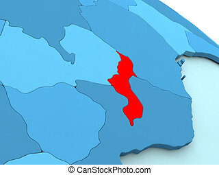 Malawi in red on blue globe - 3D illustration of Malawi...