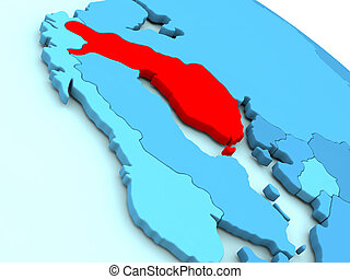 Finland in red on blue globe - 3D illustration of Finland...