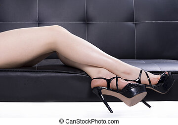 Elegant woman legs with shoes