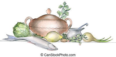 Served table - Picture of different vegatables, fish and...