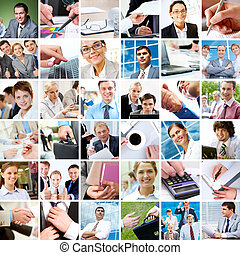 Business moments - Collage with businesspeople and objects...