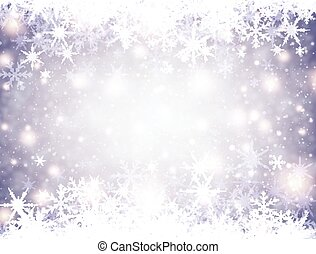 Winter background with snowflakes. - Lilac winter luminous...