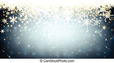 Blue winter banner with snowflakes. - Blue winter luminous...