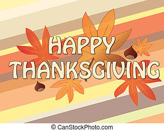 Illustration of thanksgiving card with written happy...