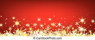 Red winter banner with snowflakes. Vector illustration.