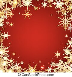 Red winter background with snowflakes. Vector illustration.