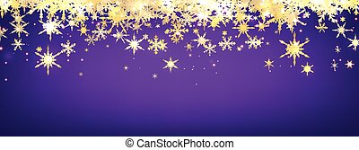 Violet winter banner with snowflakes. Vector illustration.