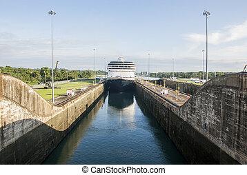rejs, statek, w, Panama, kanał