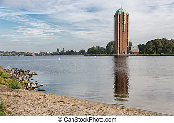 Water tower near lake in Aalsmeer, The Netherlands