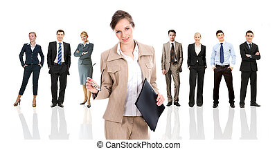 Business leader - Row of several business people in...