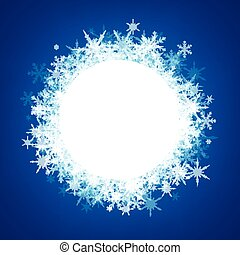 Blue winter background with snowflakes. - Blue winter round...