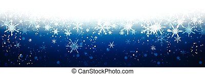 Blue winter banner with snowflakes. Vector illustration.