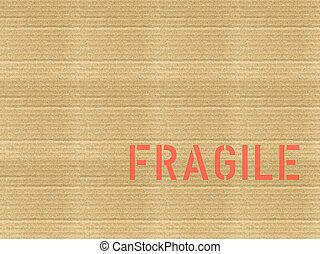 Vintage looking Fragile corrugated cardboard
