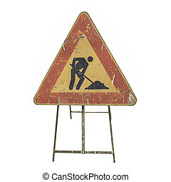 Vintage looking Road work sign isolated
