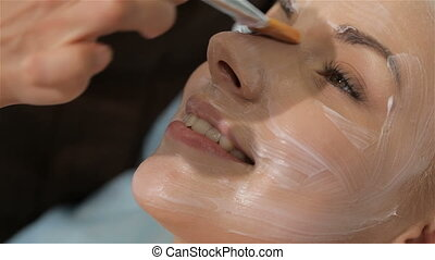 Cosmetologist makes facial mask to the female client