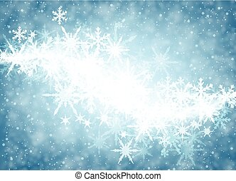 Blue winter background with snowflakes. - Blue luminous...