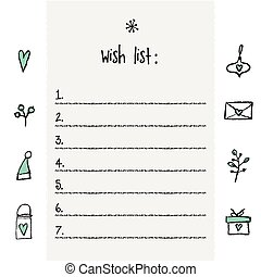 Christmas wish list template. Hand drawn elements. Printable design.