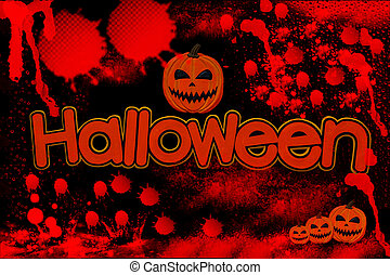 Halloween single word with blood on black background