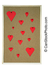 Pinboard with hearts