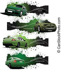 Four  green grunge Banners with car