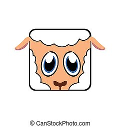 Isolated animal - Isolated face of a sheep, Vector...