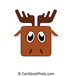 Isolated animal - Isolated face of a deer, Vector...
