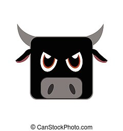 Isolated animal - Isolated face of a bull, Vector...