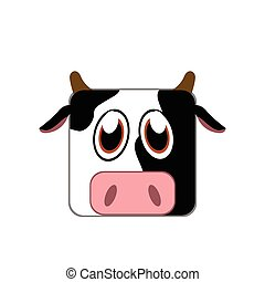 Isolated animal - Isolated face of a cow, Vector...