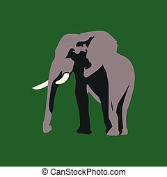 Isolated animal - Isolated cute elephant on a green...