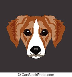 Isolated animal - Isolated face of a dog, Vector...