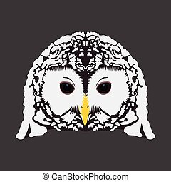 Isolated animal - Isolated face of an owl, Vector...