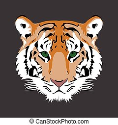 Isolated animal - Isolated face of a tiger, Vector...