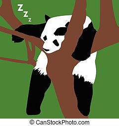 Isolated animal - Isolated panda on a tree, Vector...
