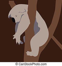 Isolated animal - Isolated koala on a tree, Vector...